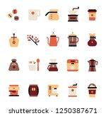 coffee icon set. flat design... | Shutterstock .eps vector #1250387671