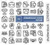 job and resume line icon set ... | Shutterstock .eps vector #1250391541