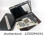 obsolete laptops isolated on... | Shutterstock . vector #1250394241