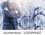 double exposure businessman and ... | Shutterstock . vector #1250394307