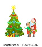 christmas holiday  decorated... | Shutterstock .eps vector #1250413807