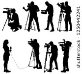 set cameraman with video camera.... | Shutterstock .eps vector #1250442241