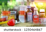 the pills is placed on the... | Shutterstock . vector #1250464867