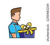 young man with gift box present | Shutterstock .eps vector #1250482234
