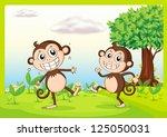 illustration of two monkeys in...   Shutterstock . vector #125050031