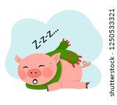 vector sleeping cut pig with a...   Shutterstock .eps vector #1250533321
