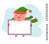 pig hold the board with copy... | Shutterstock .eps vector #1250533324