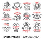 barbecue icons and signs in... | Shutterstock .eps vector #1250538964