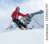 female skier skiing in high... | Shutterstock . vector #1250592757