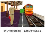 one staff with train at railway ... | Shutterstock .eps vector #1250596681