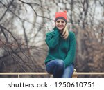 happy woman at wintertime.  | Shutterstock . vector #1250610751
