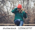 happy woman at wintertime.  | Shutterstock . vector #1250610757