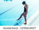 swimmer on poolside   Shutterstock . vector #1250614027