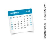 calendar january 2019 year in... | Shutterstock .eps vector #1250622994