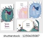 hand drawn mermaid and seaweed... | Shutterstock .eps vector #1250635087