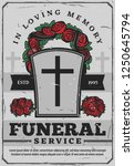 gravestone with cross and rose... | Shutterstock .eps vector #1250645794