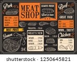 butchery products chalk sketch. ... | Shutterstock .eps vector #1250645821