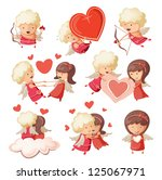 set of cute boy and girl cupids. | Shutterstock .eps vector #125067971