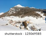 A sunny winter day at the idyllic alpine village of Rein in Taufers, South Tyrol, Italy. - stock photo
