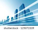 the light trails on the modern...   Shutterstock . vector #125072339