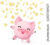 happy cute little pink pig with ... | Shutterstock .eps vector #1250730427