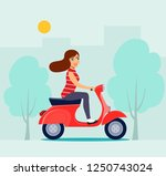 happy girl riding red scooter.... | Shutterstock .eps vector #1250743024
