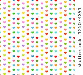 multicolor hearts   seamless... | Shutterstock .eps vector #125074391