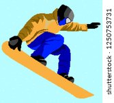 snowboarding stylized vector... | Shutterstock .eps vector #1250753731