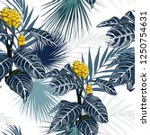 yellow tropical flowers and... | Shutterstock .eps vector #1250754631