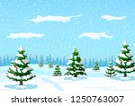winter landscape with white... | Shutterstock . vector #1250763007