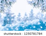 winter background of frost fir... | Shutterstock . vector #1250781784
