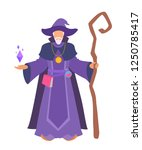 a wizard stands with a staff ... | Shutterstock .eps vector #1250785417