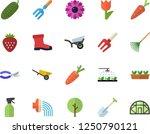 color flat icon set wheelbarrow ... | Shutterstock .eps vector #1250790121