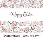 easter eggs composition hand... | Shutterstock .eps vector #1250791594