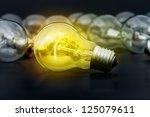 incandescent light bulbs on... | Shutterstock . vector #125079611