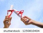 asian girls graduated and... | Shutterstock . vector #1250810404