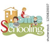 home schooling. lettering and... | Shutterstock .eps vector #1250820037