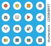 multimedia icons colored line... | Shutterstock .eps vector #1250848957