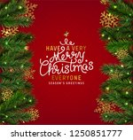 christmas postcard with vintage ... | Shutterstock .eps vector #1250851777