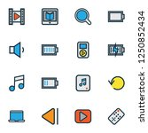 multimedia icons colored line... | Shutterstock .eps vector #1250852434