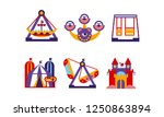 flat vector set of amusement... | Shutterstock .eps vector #1250863894