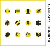 exercise icons set with barbell ...
