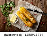 top view of kitchen table with... | Shutterstock . vector #1250918764