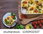 lasagna with meat  parmesan...   Shutterstock . vector #1250932537