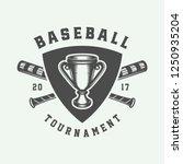 vintage baseball sport logo ... | Shutterstock .eps vector #1250935204
