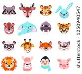 set of vector animals in... | Shutterstock .eps vector #1250940547