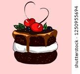tasty bright cake with fresh... | Shutterstock .eps vector #1250955694