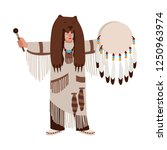 american indian wearing... | Shutterstock .eps vector #1250963974