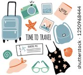 hand drawn set with travel... | Shutterstock .eps vector #1250968444