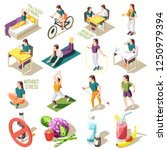 healthy life style isometric... | Shutterstock .eps vector #1250979394